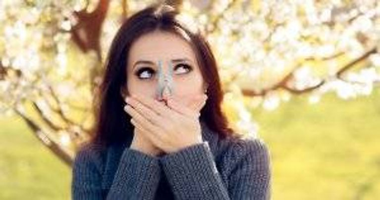 Woman with clothes pin over her nose. Bad Allergies pbs rewire