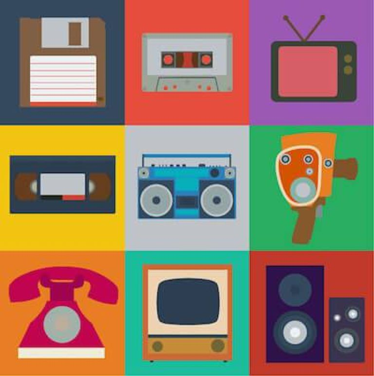 Graphic of several old technologies like VHS and tube television. Nostalgia pbs rewire