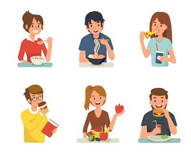 Illustration of different men and women eating different foods. Disordered Eating pbs rewire