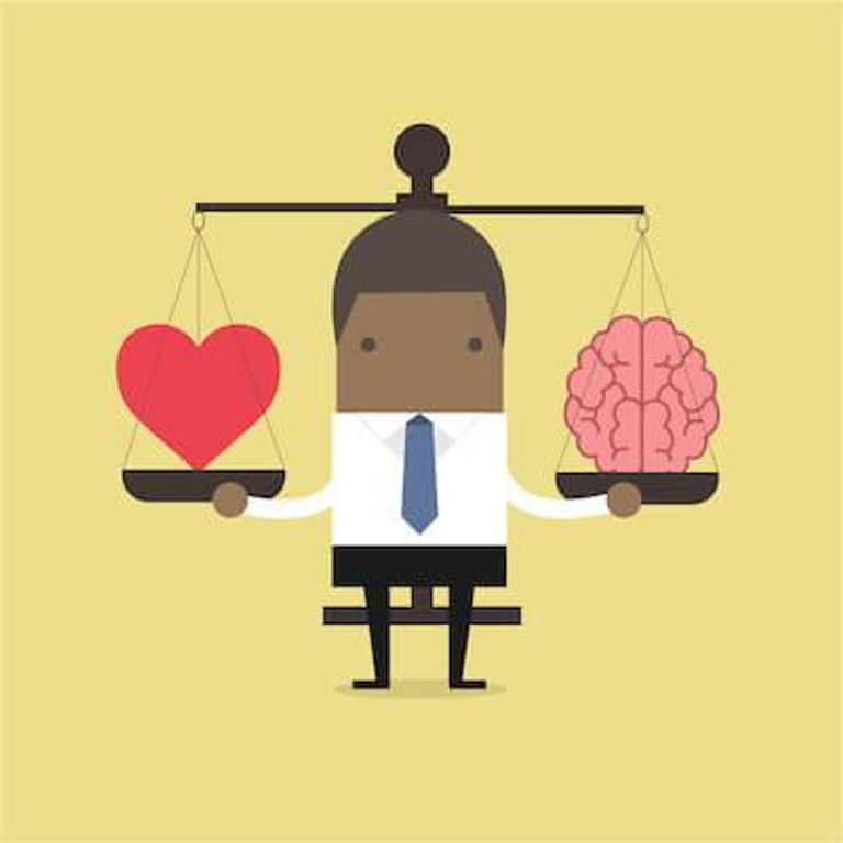 Illustration of African-American man holding a scale with his heart and his brain on each side. People's Feelings pbs rewire