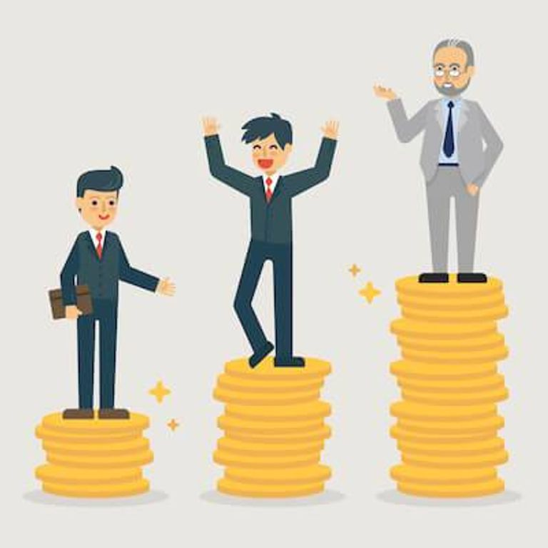 Illustration of three men of different ages standing on larger and larger stacks of coins. Talking Salary pbs rewire