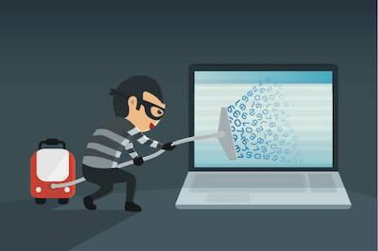 Illustration of thief vacuuming data from a laptop. Cryptominers pbs rewire