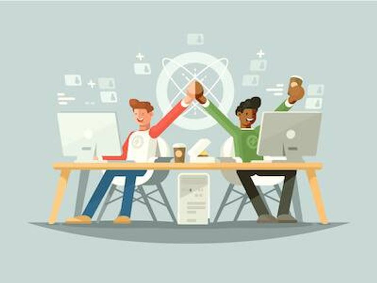 Illustration of two coworkers high-fiving at their desks. Microaggressions pbs rewire