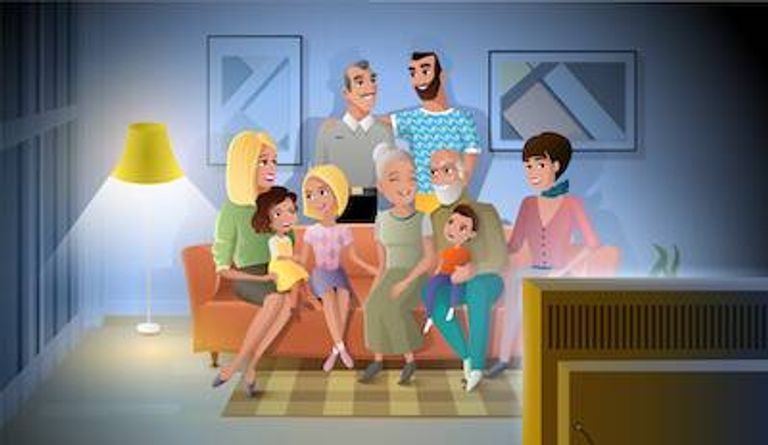 Illustration of extended family watching television together. Broken Family pbs rewire