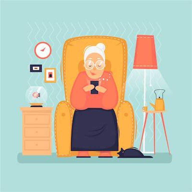 Illustration of grandmother looking at photos of grandchildren on smartphone. Posting Too Much pbs rewire