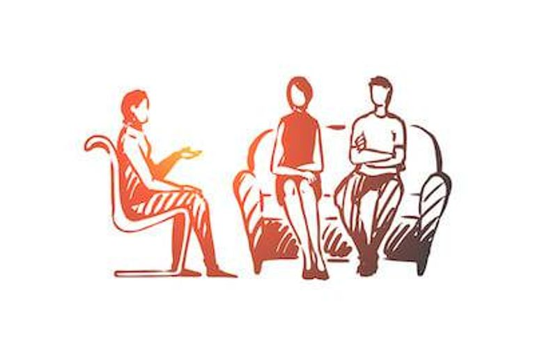 Illustration of couple speaking with a therapist. Cheated pbs rewire