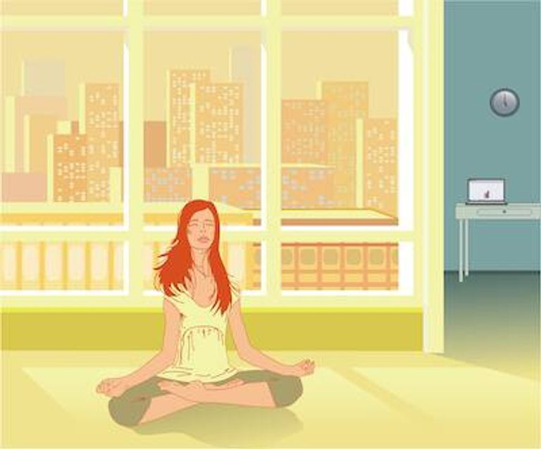 Illustration of woman doing yoga in her high rise apartment. New Age pbs rewire