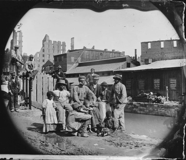 Photo from 1865 showing newly freed black Americans. Revisionist History pbs rewire