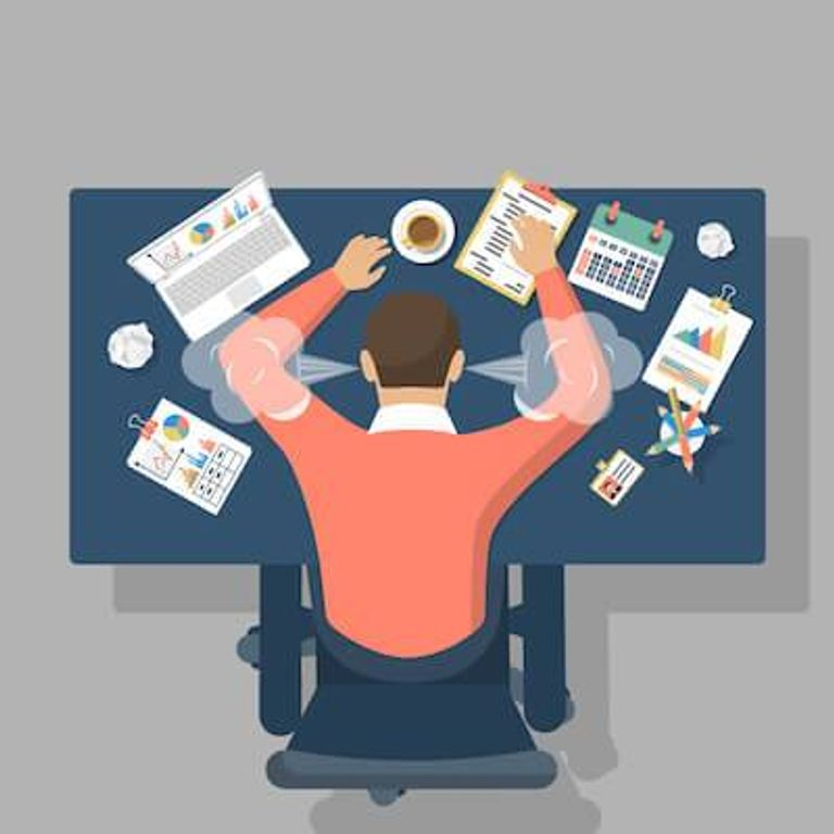 Illustration of man laying on his desk out of frustration. Burnout pbs rewire