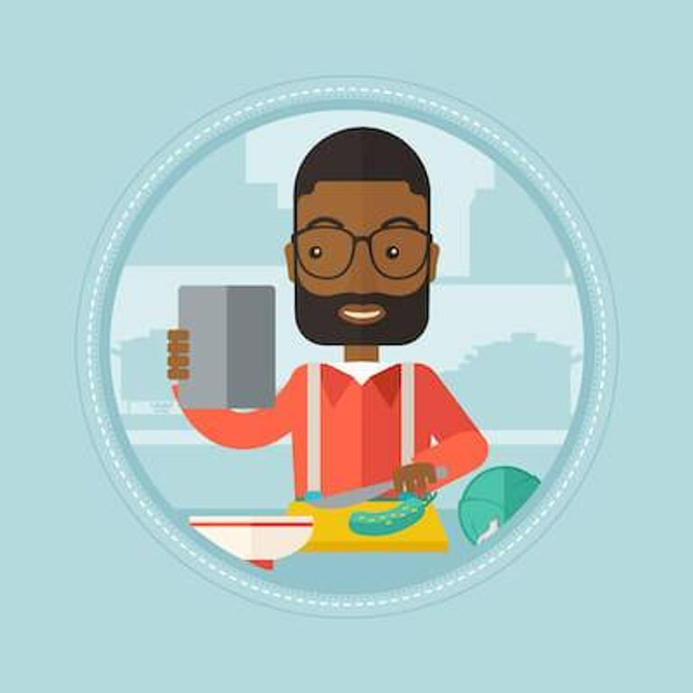Illustration of African-American man holding tablet while cooking. Stop Wasting Food pbs rewire