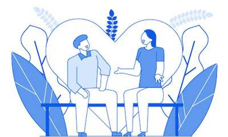 Illustration of couple sitting on bench talking. Back With an Ex pbs rewire