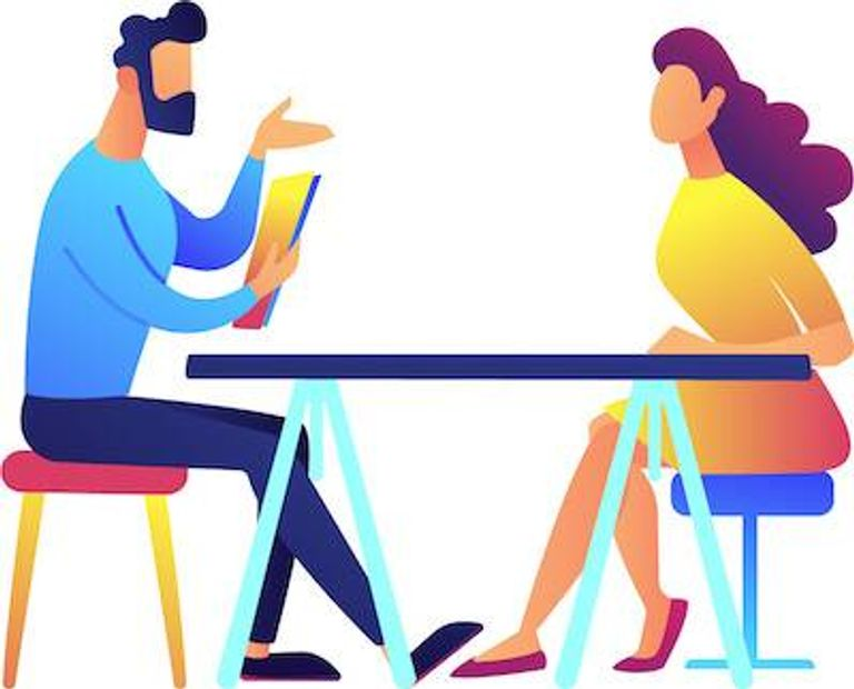 Illustration of man and woman discussing work at a table. Pick Your Job Title pbs rewire