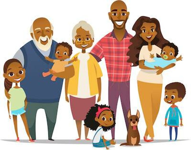 Illustration of African-American family together. Emotional Barriers pbs rewire