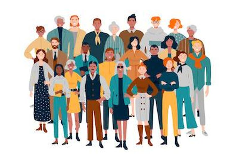 Illustration of diverse group of people. Sexual Harassment pbs rewire