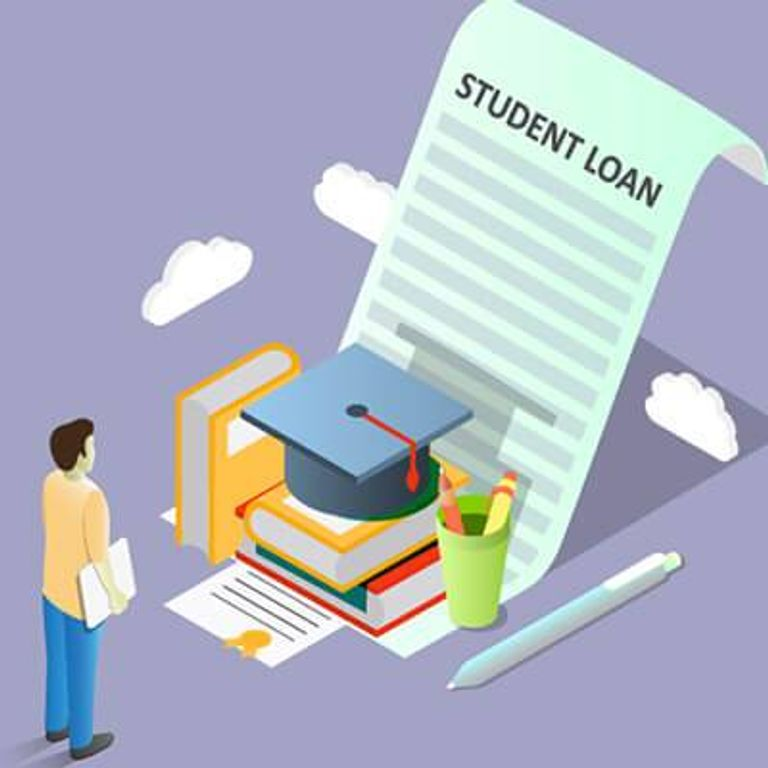 An illustration of a student staring at a large student loan agreement. Rewire PBS Work CancelStudentDebt