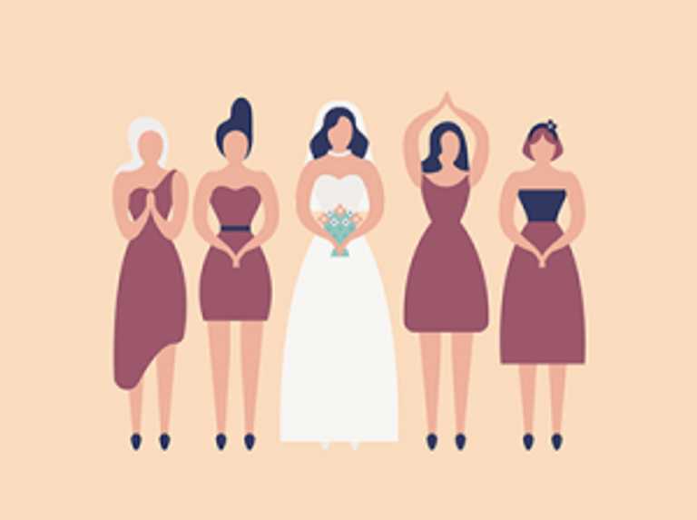 Bridesmaids and bride. Rewire PBS Love Bridal Party