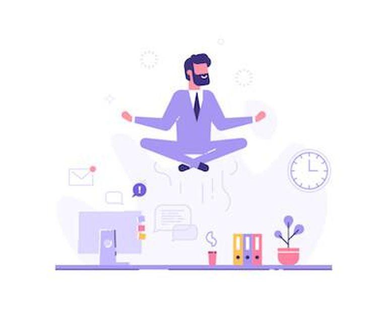 Illustration of business man meditating above his work desk. Mental Health pbs rewire