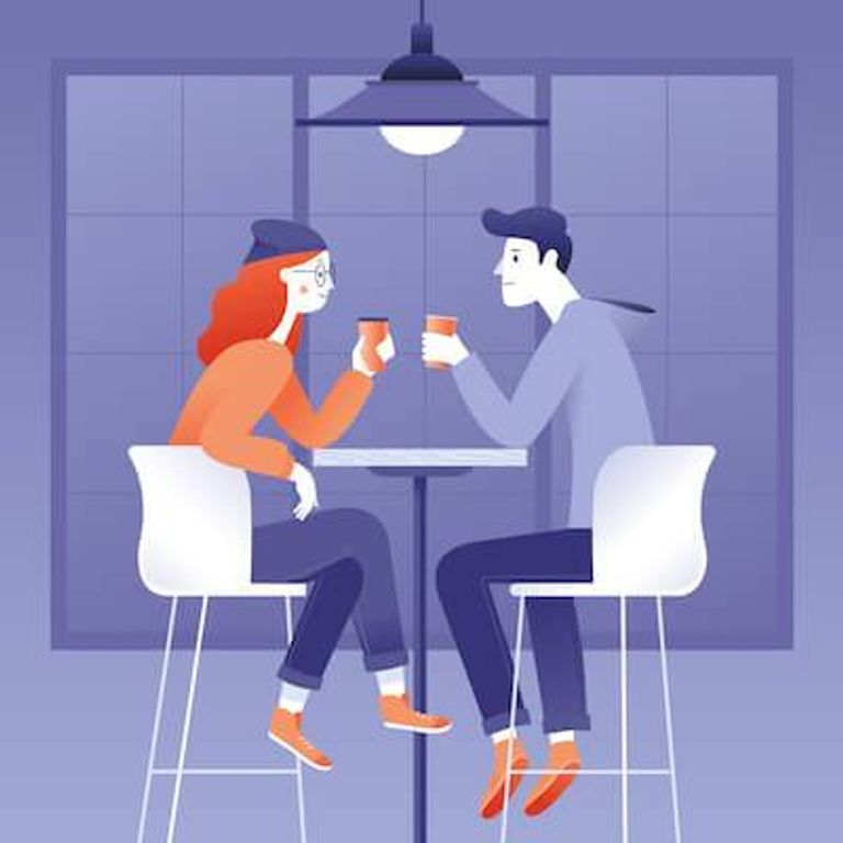 Illustration of friends chatting in a coffee house. Chronic Illness pbs rewire