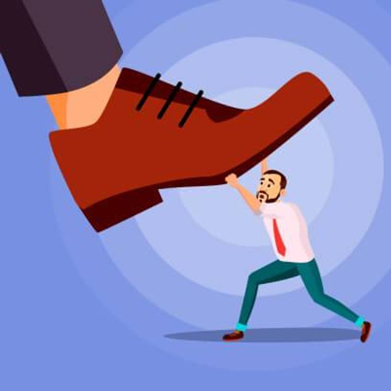 Illustration of a man being stepped on by an extra-large shoe. Rewire PBS Love Toxic Parent