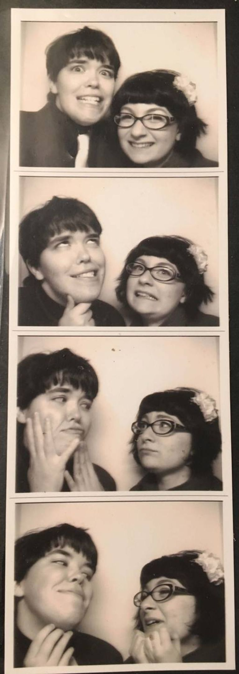 Photo booth photos of LGBTQ couple. Wedding Expectations pbs rewire