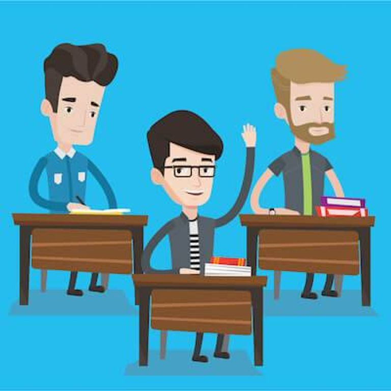 Illustration of young men in a classroom with one raising his hand. Sex Ed pbs rewire