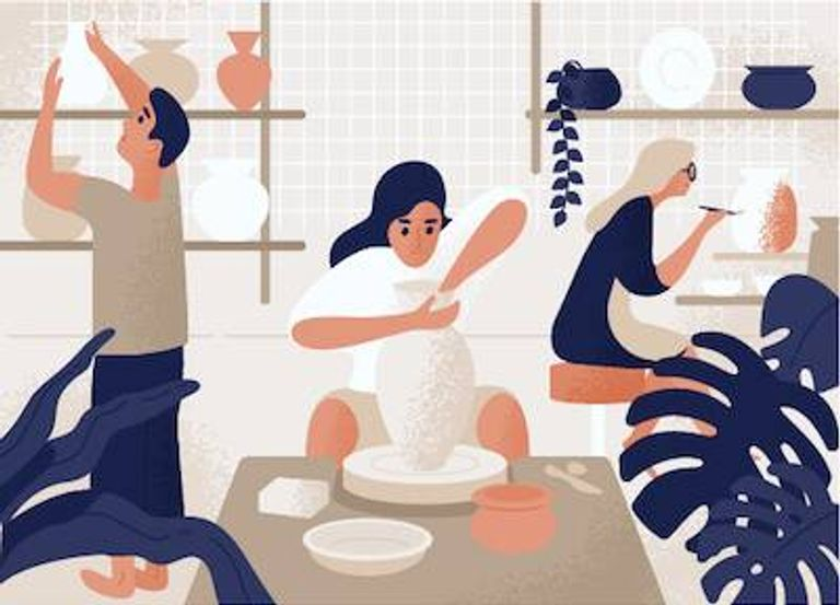 Illustration of woman working on pottery. Childhood hobbies pbs rewire