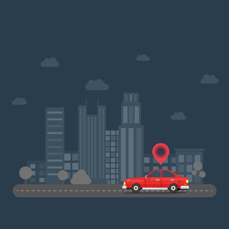 Illustration of red car with a place icon above it traveling on road with a cityscape in the background. Rewire PBS Living Women-Only Ridesharing