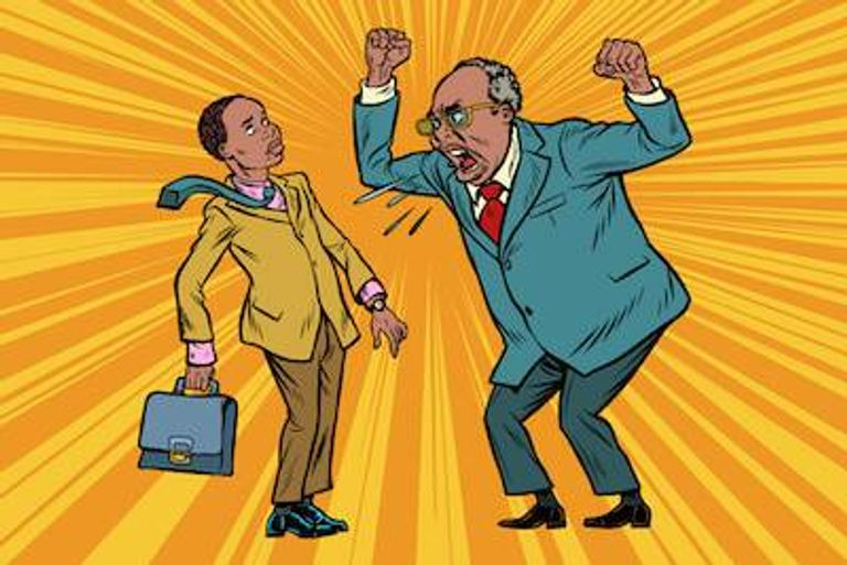 Illustration of older African-American male yelling at younger subordinate. Bullied by your boss pbs rewire