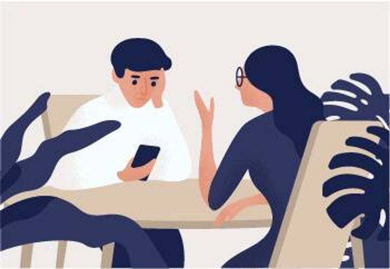 Illustration of couple at dinner table with man on his iPhone. Phubbing pbs rewire