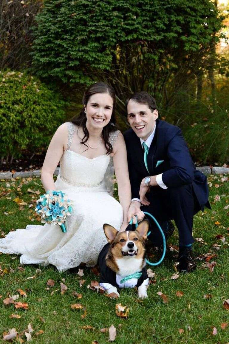 Chrisanne Grise poses with her husband and her dog during her Oct. 2016 wedding. Dog of Honor pbs rewire