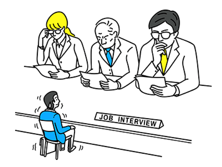 A man is nervous at a job interview in front of interview panel. REWIRE PBS Work Extroverts