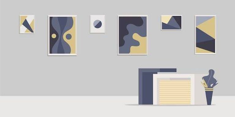 An illustration of art being hung on the wall of a home. Rewire PBS Living Cuffing