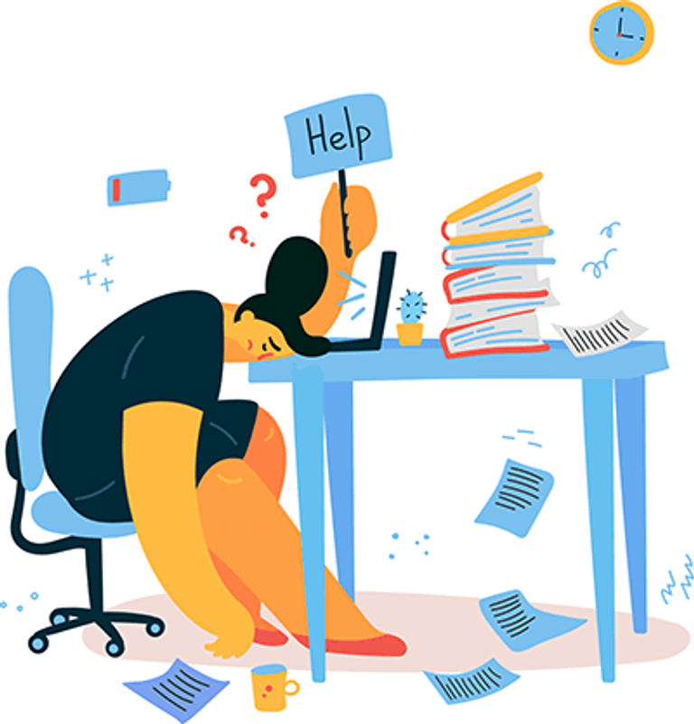 A woman is burnt out at work at the office. REWIRE PBS Work post-vacation blues