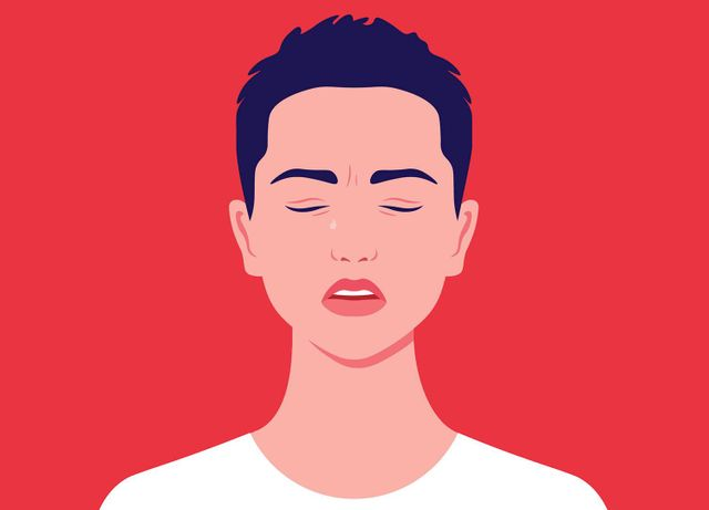 Illustration of a woman with a short, cropped hair, eyes closed and a single tear. Rewire PBS Health Domestic Abuse