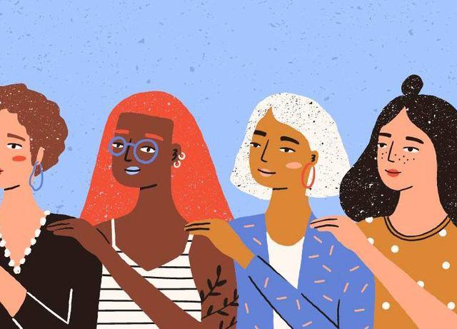 four women helping each other. REWIRE PBS Love help friend