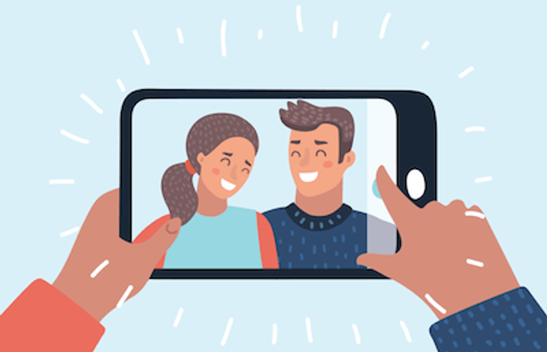 Illustration of a couple taking a selfie together. Rewire PBS Love Document