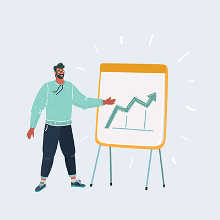 Illustration of man standing by a slide with a graph showing success. Rewire PBS Work Pitch