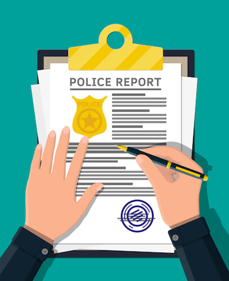 Illustration of a police report being filled out by a police officer. Rewire PBS Living Police