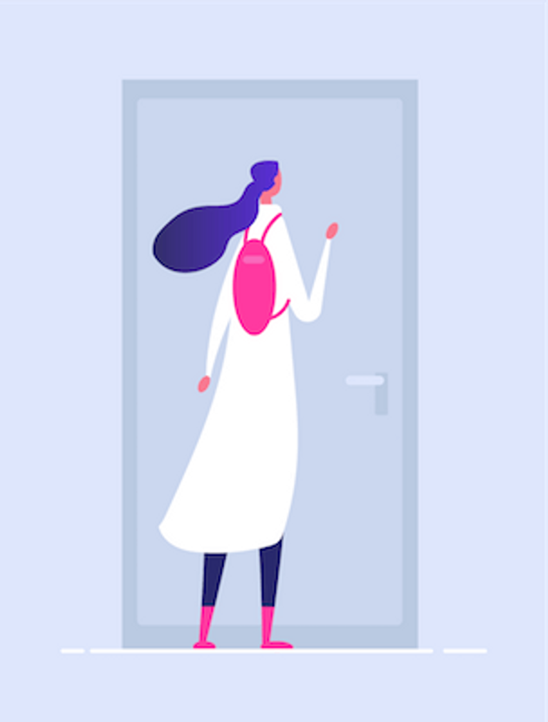 Illustration of someone knocking on a closed door. Rewire PBS Our Future Volunteering