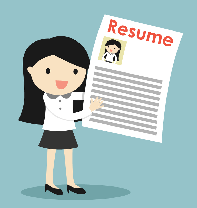 Illustration of smiling woman holding up her resume. Rewire PBS Work Fired