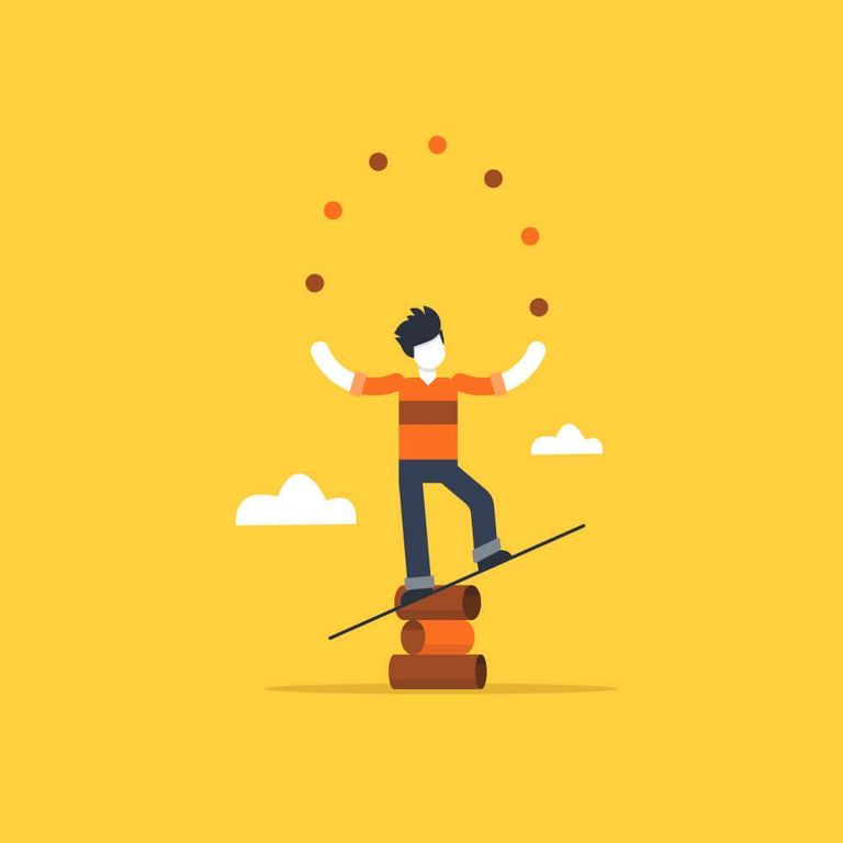 Illustration of a person juggling balls while balancing on a seesaw. Rewire PBS Work Overworked