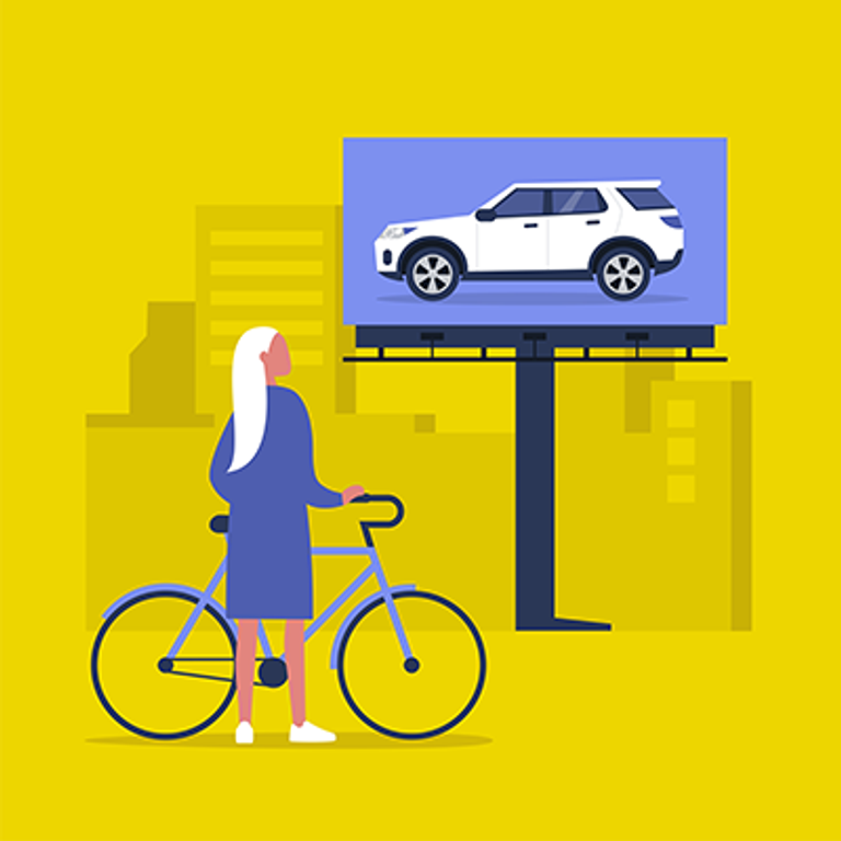 Illustration of a person with a bike looking at a billboard of a fancy SUV. Rewire PBS Money resent