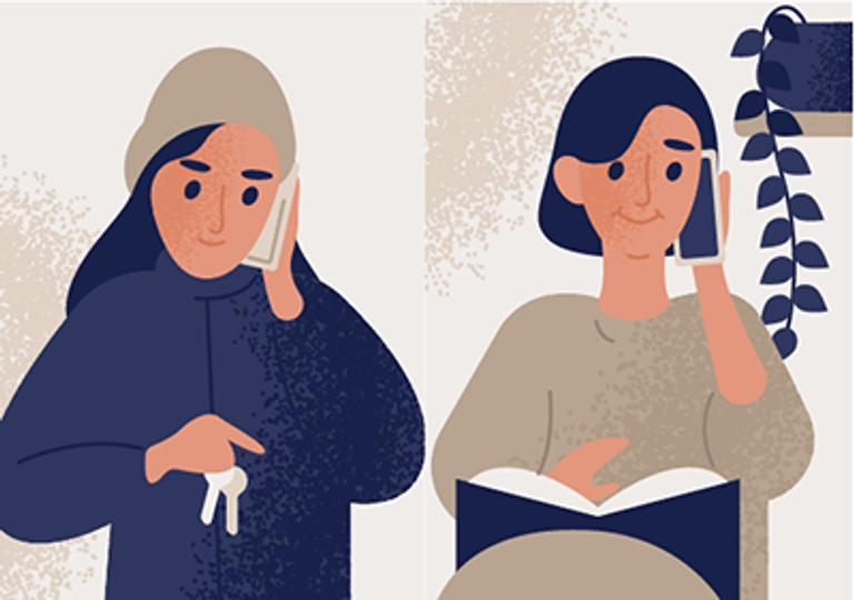 two women talk on the phone. REWIRE PBS Living Talk parents coronavirus
