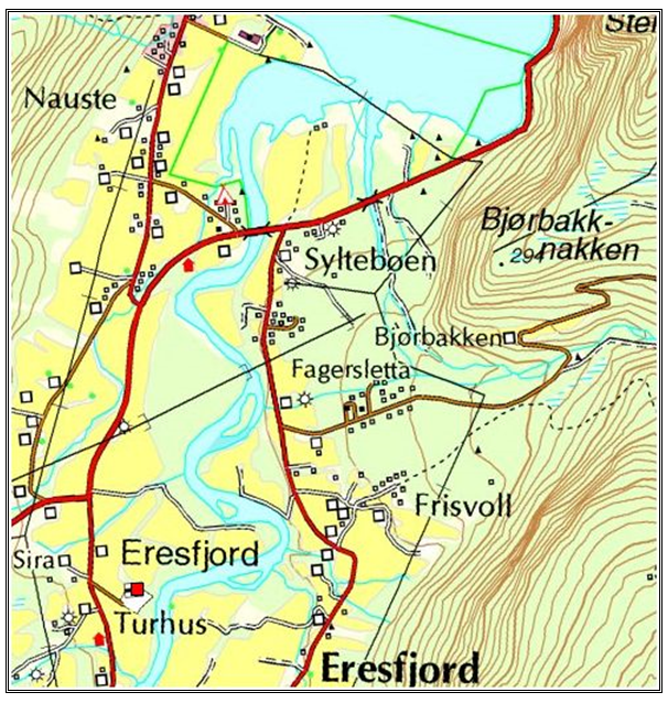 A map of Eresjford Norway