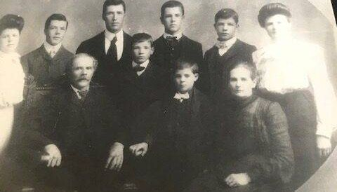 The Bellanger family in Little Falls, MN, 1905. Elfrida Bellanger is in the top right.