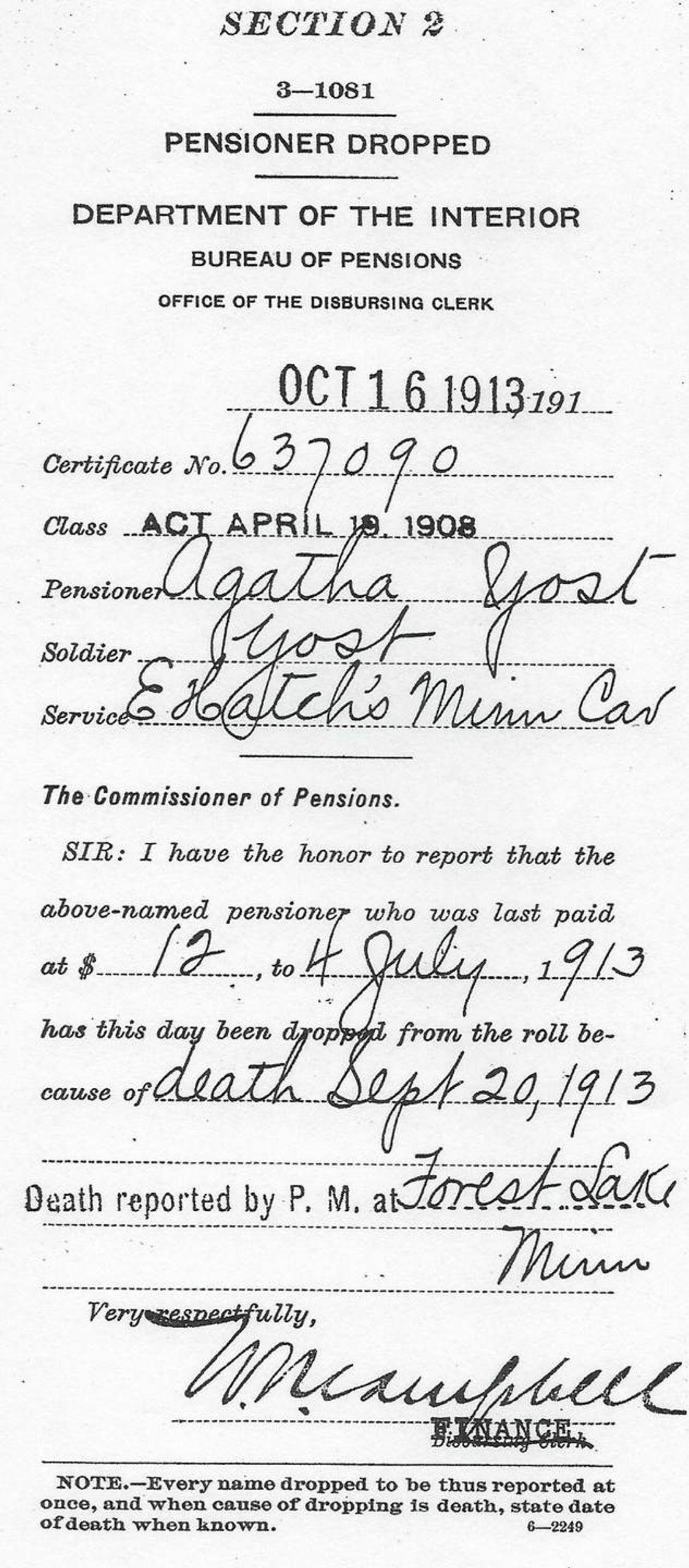 Paperwork describing loss of Agatha's pension