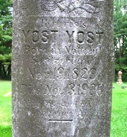 Worn graver marker that reads Yost Yost