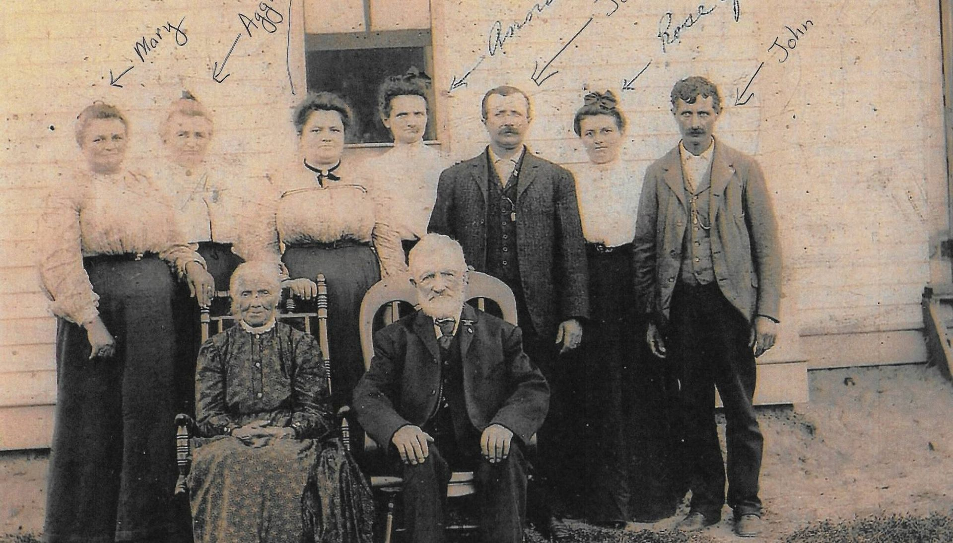 Family of nine posing in front of a building with a window