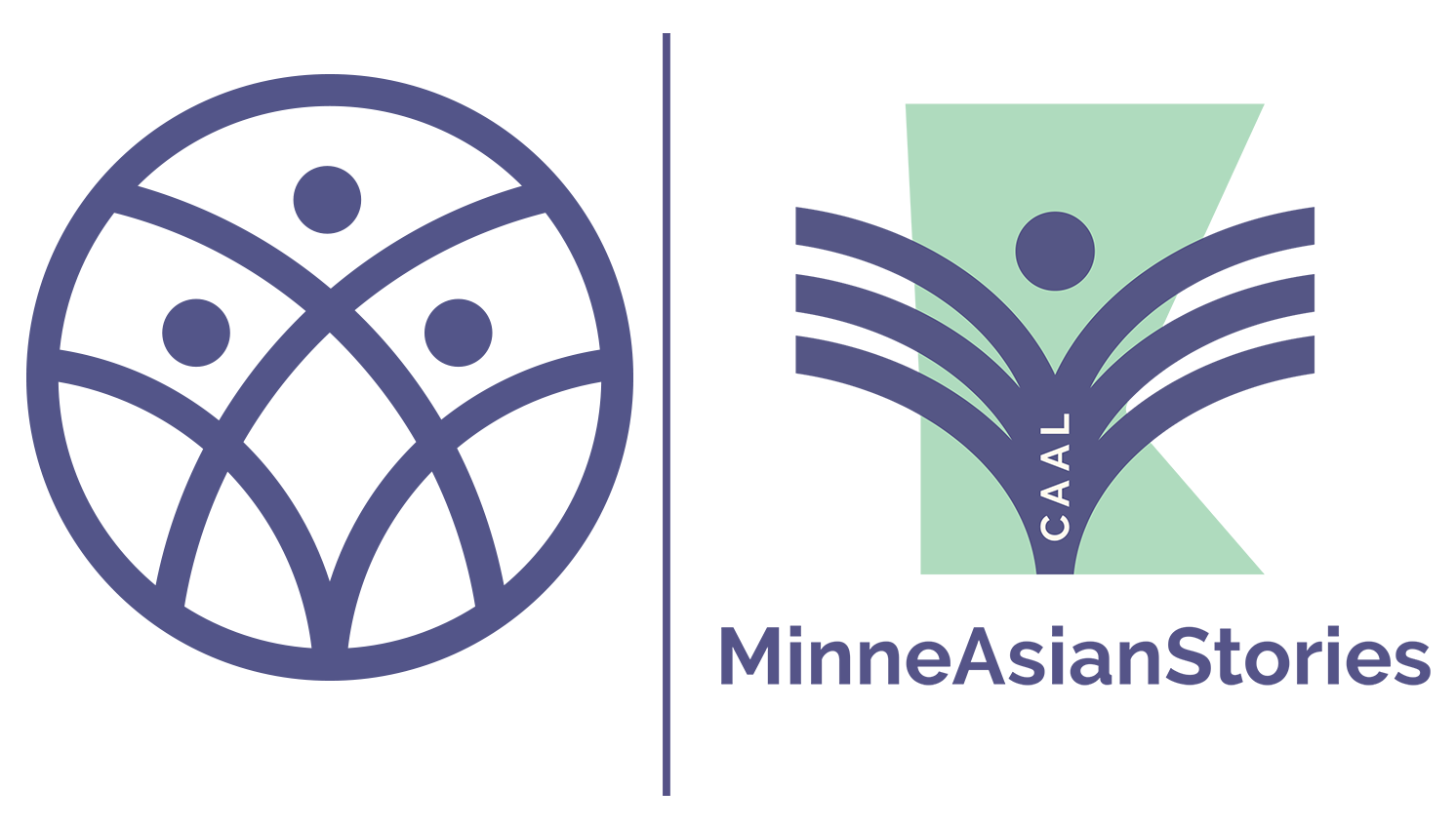Two logos, one of a circle with three figures intersect, the other of MinneAsianStories
