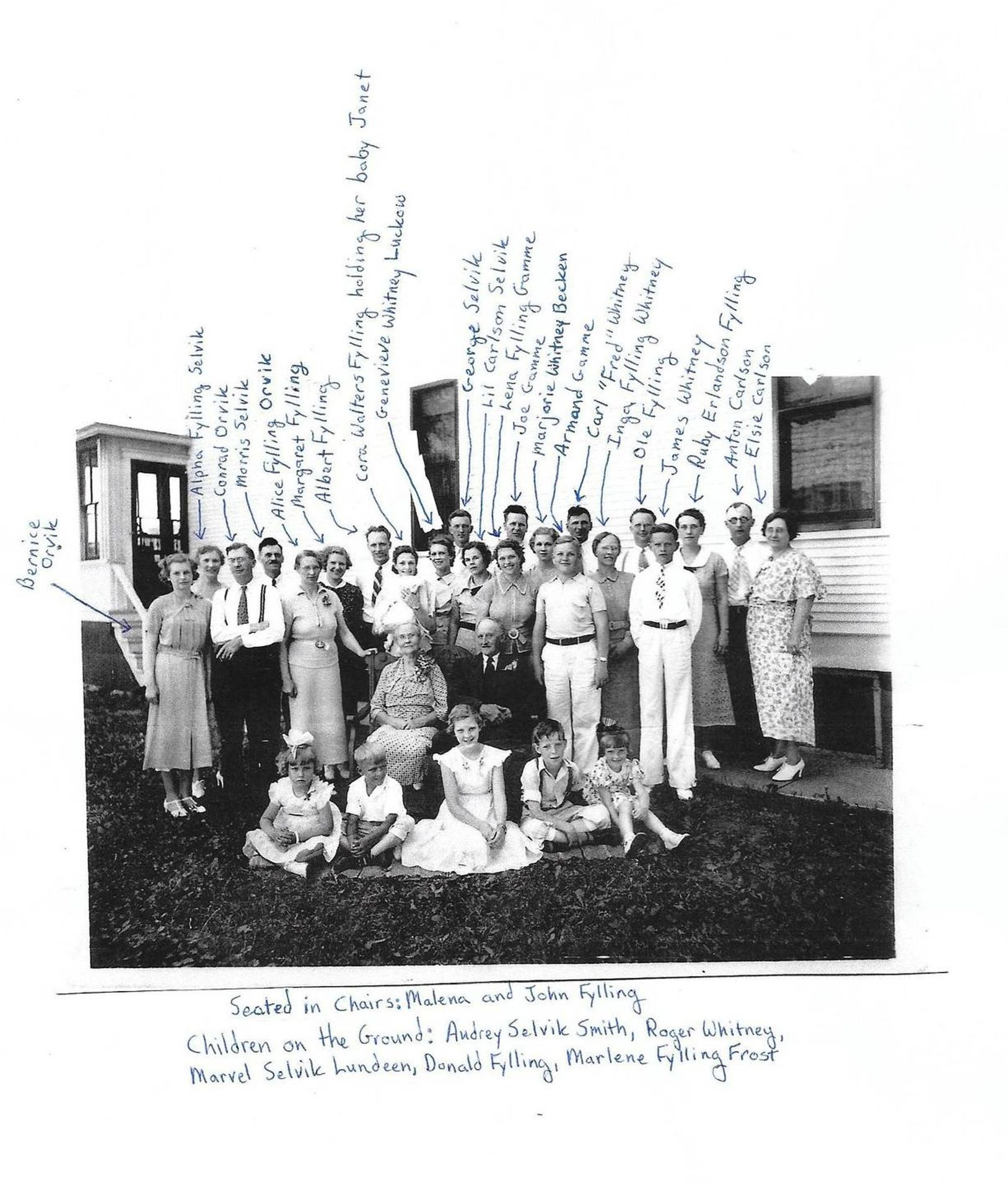 Large group of family members with names inscribed onto the photograph
